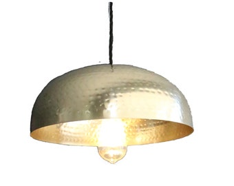 "Hammered brass gold Dome pendant light. 14"" FREE SHIPPING pendant kitchen pendant dining light"