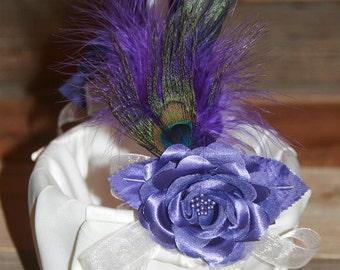 Flower Girl Basket Wedding Basket Flower Basket Peacock Purple White Satin Basket