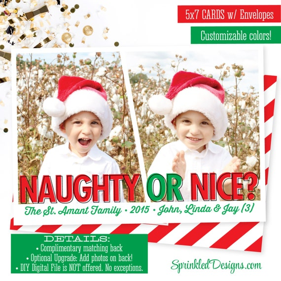 Items similar to naughty or nice christmas cards funny christmas items similar to naughty or nice christmas cards funny christmas photo card for kids family 1 or 2 photos custom personalized printed holiday card on m4hsunfo