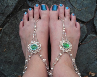 Ophelia - Beaded Barefoot Stretch Sandals