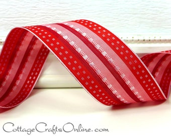"Wired Ribbon  1 1/2""  Red Stitched Stripe - THREE YARDS - Offray ""Roxie"" Christmas,  Valentine, Craft Wire Edged Ribbon"