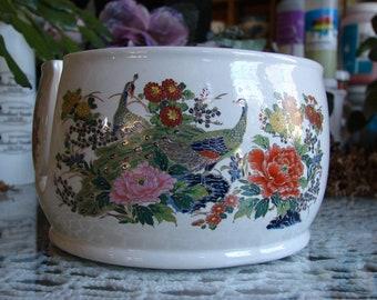 Oriental Birds in a Brightly Colored Gold Leaf Cloisonne' Garden!! Ceramic Yarn Bowl / Yarn Holder