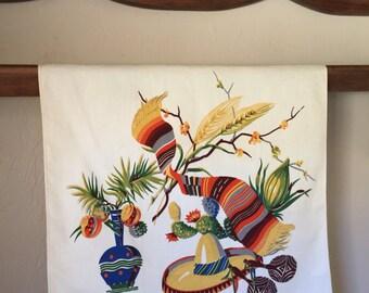 Vintage Wilendure Mexican Southwest Tea Towel Minty