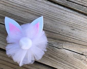 White bunny hair bow
