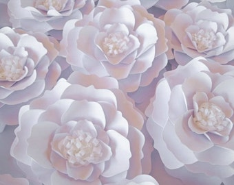 10 cream paper flowers wall paper flowers pale pink paper set of 8 white paper flowers wall paper flower big paper flowers floral wall decor paper wedding decor table centerpiece wedding arch mightylinksfo