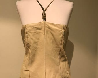 Vintage Genny beige softest leather crop tube top IT 42 US 8 unworn w straps corset