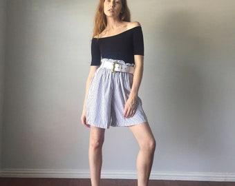 Vintage 1980s High Waist Shorts / Cinch Waist Striped 80s Shorts / Gathered High Waist 1980s Shorts / Size S M