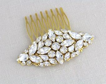 Gold Wedding comb, Bridal hair comb, Swarovski crystal hair comb, Wedding headpiece, Gold headpiece Wedding hair accessories Vintage wedding