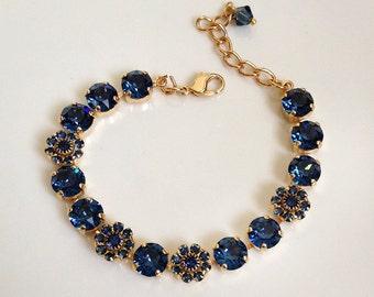 Swarovski montana sapphire tennis bracelet, something blue, bridal, rhinestone bracelet, old Hollywood, bridesmaid gift, floral flower, gold
