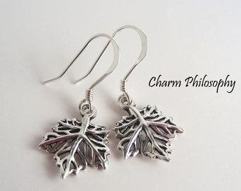 Maple Leaf Earrings - 925 Sterling Silver - Dangle Leaf Charm Earrings - Canada/Canadian Earrings - Maple Leaf Jewelry - Toronto Maple Leafs