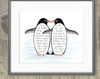 Penguin Love, Bible Verse art print, scripture design, hand lettered typography, wall art decor