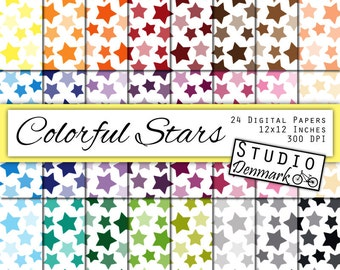 Colorful Stars Digital Paper - 24 Color Star Background - Commercial Use - 12in x 12in - Instant Download Star Digital Paper