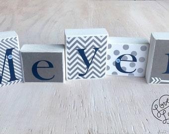 Boy's Name Blocks - Baby Boy Blocks, Nursery Room Decor - Wood Letter Blocks - Baby Boy Gift - Baby Shower Decor - Navy and Gray Nursery