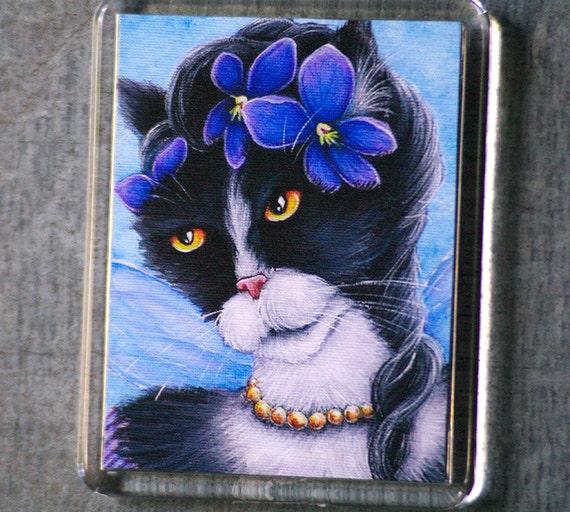 Tuxedo Cat Magnet, Victorian Violet Flower Fairy Cat Art Fridge Magnet