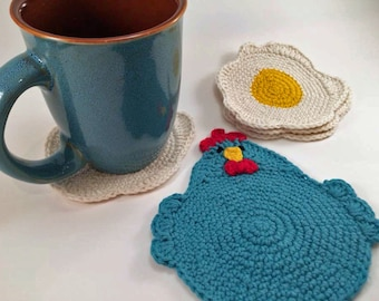 "Crochet Pattern for the ""Chicken or the Egg? Coaster Set."" PDF file, instant download, permission to sell finished items."