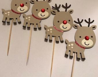 Rudolph reindeer cupcake topper