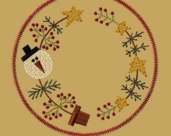 Maschine Stickerei-Schnee Weihnachtsbaum Kerze Matte-5-Zoll-Colorwork-Instant Download