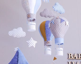 """HOT AIR BALLOON baby mobile for crib  """"Round-the-world travel"""""""