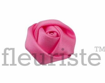MED PINK Rosette, Satin Rolled Rosette, Fabric rose, Rolled Rosette, Wholesale Flower, Fabric Flower, Wedding Flower, Flower Embellishment