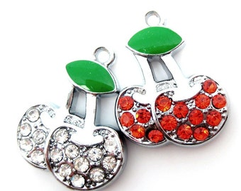 Destash Sale... Red and White Cherries Rhinestone Charms... 4pcs