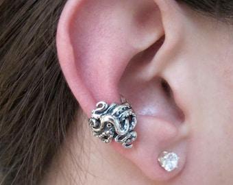 Octopus Ear Cuff Tentacle Twist Ear Cuff Silver Ear Cuff Octopus Jewelry Steampunk Ear Cuff Earcuff Non-Pierced Tentacle Earring Statement
