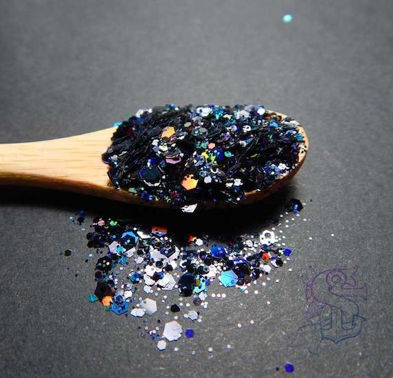 Black rainbow glitter mix \