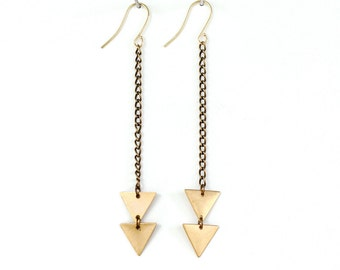 Brass Arrow Triangle Earrings