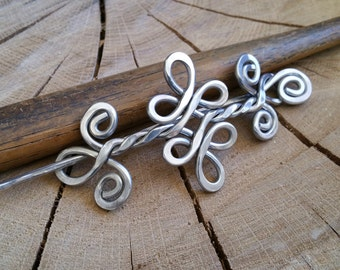 Celtic Knot Double Swirls and Curls Aluminum Shawl Pin, Hair Pin, Celtic Hair Slide, Hair Barrette, Sweater Clip, Knitters Gift for Women