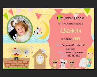 Nursery Rhyme Birthday Party Invitation