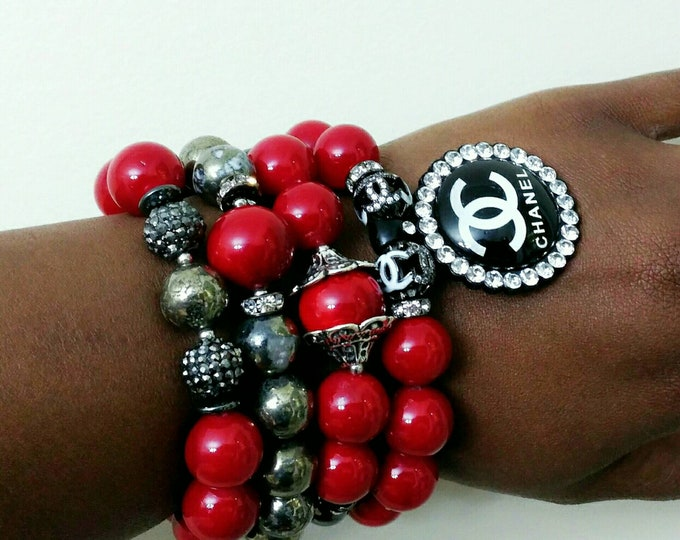 Designer Inspired Ladies Chunky Red Pearl & Hematite Bracelet Stack, stackable Bracelets, Beaded Bracelet Stack, red Bracelet