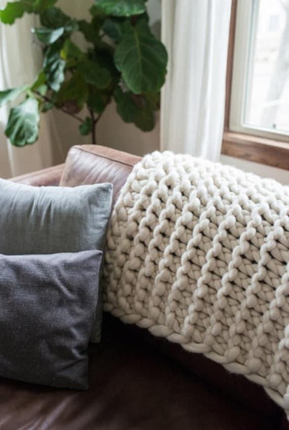 Chunky Knit Blanket Throw Full Bed Blanket Merino Wool