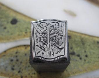 Greek Lyre Antique Letterpress Printers Block Metal