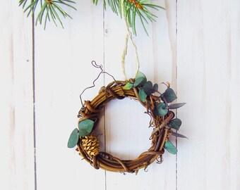 Mini Eucalyptus Wreath - Rustic Home Decor - Farmhouse Style Ornament