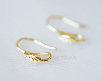 Gold plated Brass Earring Hooks 12mm, Polished Gold Earwires Ear Hooks (GB-227)/ 10pcs =5 pairs