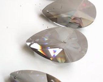 5 Satin Grey European Cut Teardrop Chandelier Crystals 63mm Lead Crystal