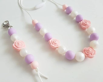 Lily Silicone necklace and keychain/bag tag set