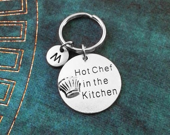 Hot Chef in the Kitchen Keychain Chef's Hat Keychain Cooking Keychain Chef Keychain Cook Keychain Engraved Keychain Cooking Gift Initial