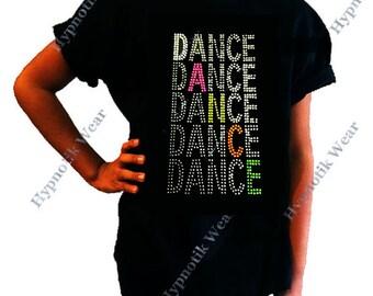 """Girls Rhinestone / Rhinestuds T-Shirt """" Dance, Dance Dance """" Neon Retro, in Size 3 to 14"""