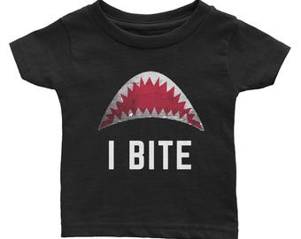 I Bite Open Shark Mouth Halftone Grunge Funny Teeth Scary Infant Tee