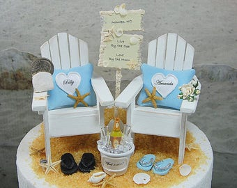 """CUSTOM SIGN BEACH Wedding Cake Topper Request Your Wedding Colors! No Base Fits 6""""Top! Handmade Adirondacks/Champagne/Custom Bouquet/More!"""