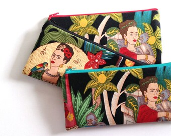 Frida Kahlo zipper bag, cosmetic bag, makeup bag, pencil case, pencil pouch, zipper case, organizer, Frida with monkey or Frida with parrot
