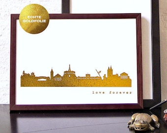 Gold KASSEL Poster, KASSEL City Skyline, REAL gold print, Kassel illustration artwork, anniversary gift, Kassel gift poster, Kassel travel