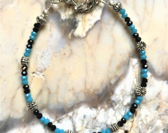 FREE SHIPPING! Handmade Black Spinel and Chalcedony Gemstones Bracelet