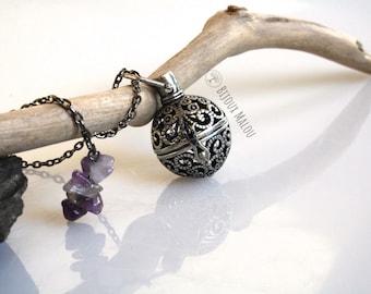 Amethyst Grey Silver Locket Necklace Ball Locket Oil Diffuser on Gun Metal Chain Purple Stones Open Locket Necklace Long Grey Necklace