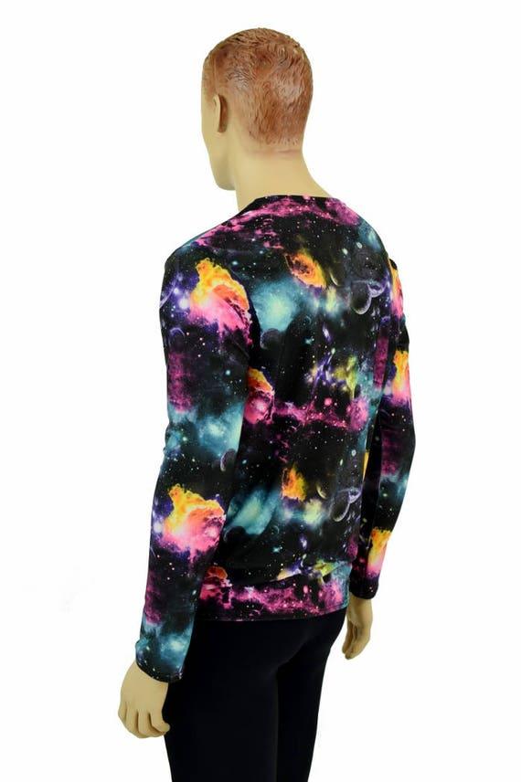 Mens UV Glow Galaxy Long Sleeve Crew Neck Shirt Rave Space Alien Cosmic Nebula Universe Galactic Festival Burning Man Clubwear - 154845 IzKCz8l