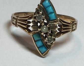 Antique Victorian Rosey Yellow 10k Gold Diamond Turquoise Pearl Ring Size 7.25