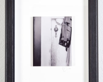 Doorknob Robe | Original Fine Art Photograph 8 in. x 10 in. Framed | Archival Print on Metallic Inkjet Paper Mounted
