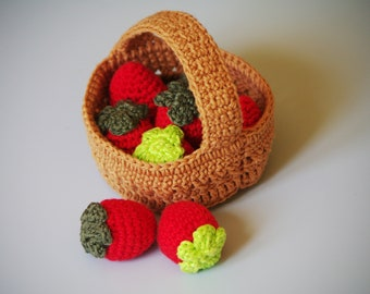Crochet strawberries and basket pattern