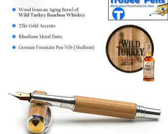Handmade Wooden Fountain Pen - Wild Turkey Bourbon Wood from Aging Barrel - Certificate of Authenticity - Gift for Drinkers - Best Man Gift