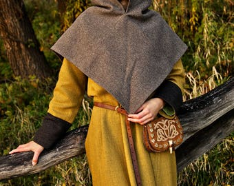 Wool hood, Historical Viking pattern based on Skjoldehamn findings, for historical reenactments or cosplay